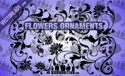 Free vector Vector Silhouettes  Flowers Ornaments