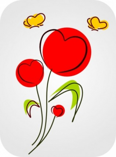 Free vector Vector clip art  Flowers With Hearts clip art