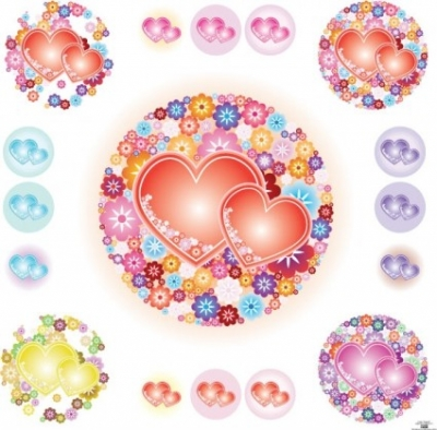 Free vector Vector flower  Flowery Hearts
