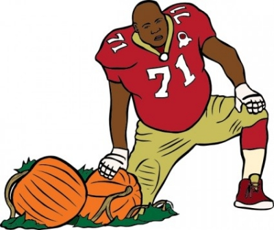 Free vector Vector clip art  Football Player With Pumpkin clip art