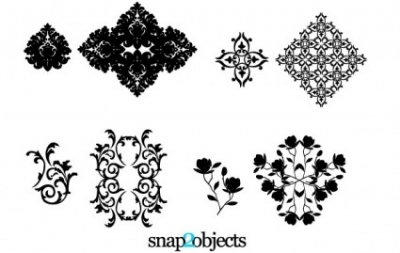 Free vector Vector floral  Four Vector Floral Ornaments