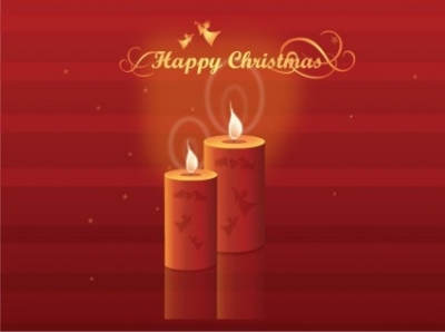 Free vector Vector Christmas  Free Shining Christmas Candles Vector Illustration