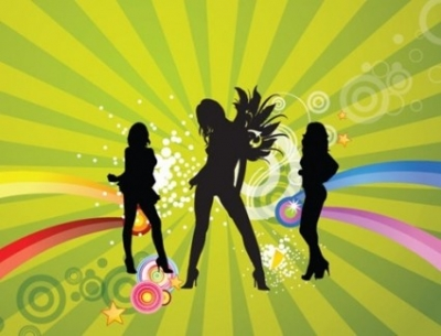 Free vector Vector abstract  Free Silhouettes of Dancing Girls with Abstract Background Vector Illustration
