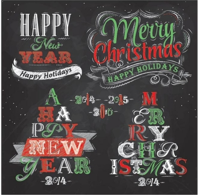 Free vector merry christmas and new year chalkboard typography logo Free vector 8.13MB