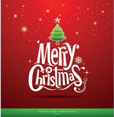 Free vector merry christmas typography greeting card Free vector 639.32KB