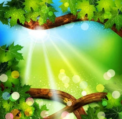 Free vector Vector background  Fresh green leaves on natural background