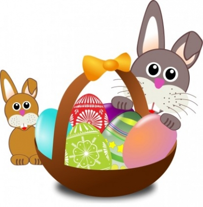 Free vector Vector clip art  Funny bunny face with Easter eggs in a basket with baby rabbit