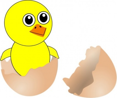 Free vector Vector clip art  Funny Chick Cartoon Newborn Coming Out from the Egg