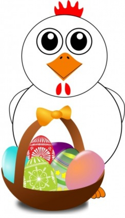 Free vector Vector clip art  Funny Chicken with a basket full of Easter Eggs