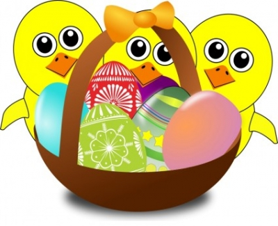 Free vector Vector clip art  Funny Chicks Cartoon with Easter eggs in a basket