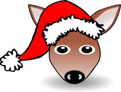 Free vector Vector clip art  Funny Fawn Face Brown Cartoon with Santa Claus hat