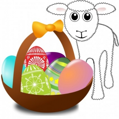 Free vector Vector clip art  Funny lamb with Easter eggs in a basket