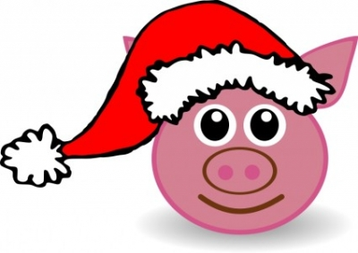 Free vector Vector clip art  Funny piggy face with Santa Claus hat