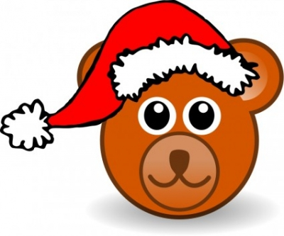 Free vector Vector clip art  Funny teddy bear face brown with Santa Claus hat