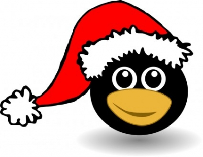 Free vector Vector clip art  Funny tux face with Santa Claus hat