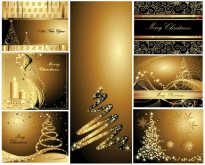 Free vector Vector Christmas  gold christmas postcards vector