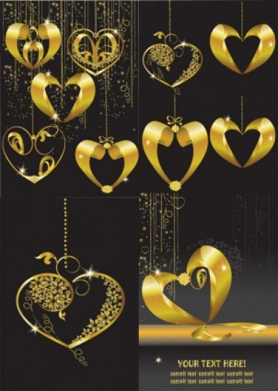 Free vector Vector Heart  gold heartshaped pendant vector