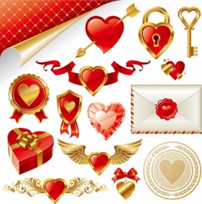 Free vector Vector Heart  gold love element vector