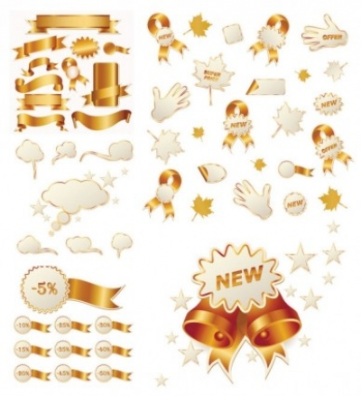 Free vector Vector icon  gold ribbon and christmas icon vector sales