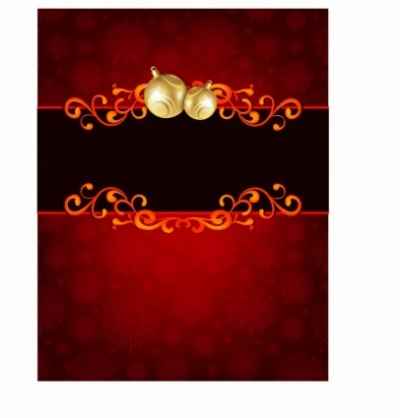 Free vector Vector Christmas  Golden Christmas Ornament on red Holiday Card Background