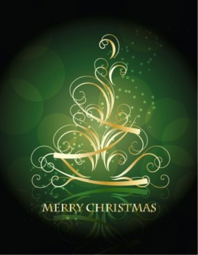 Free vector Vector background  Golden Swirling Christmas Tree with Blackish Green Background