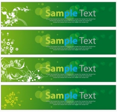 Free vector Vector banner  Green Floral Banners