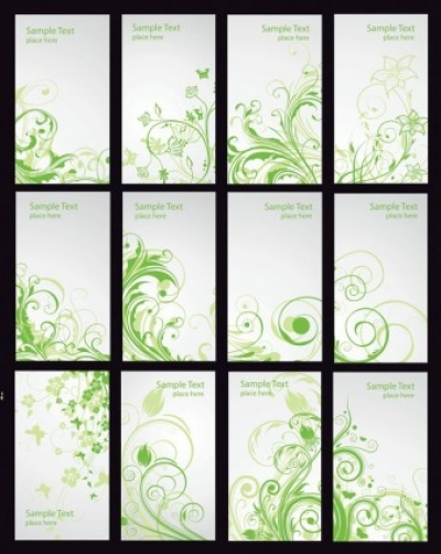 Free vector Vector floral  Green Floral Card Vector Set
