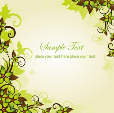 Free vector Vector floral  Green Floral Frame Vector Graphic