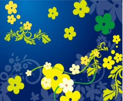 Free vector Vector flower  Green Floral Vector in Blue Backgro