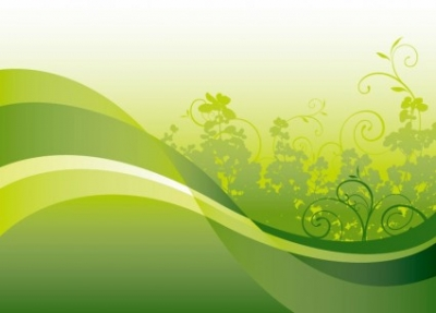 Free vector Vector background  Green Floral with Wave Vector Background