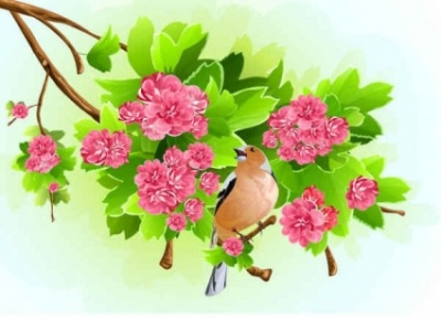 Free vector Vector background  Green Leaf Pink Flowers Background