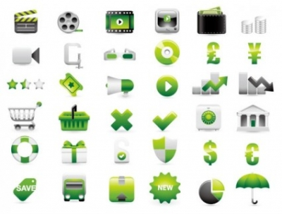 Free vector Vector icon  green shopping website decoration icon vector