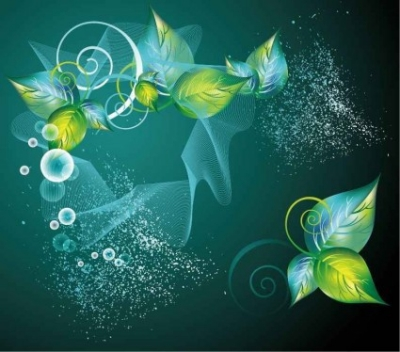 Free vector Vector background  Green Swirl Floral Vector Background