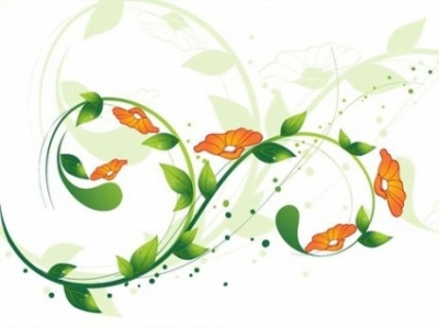 Free vector Vector floral  Green Swirl Floral Vector illustration