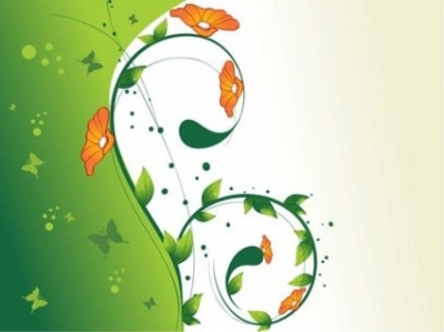 Free vector Vector floral  Green Swirl Floral Vector illustration 2