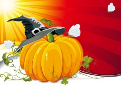 Free vector Vector background  Halloween Pumpkin with Ray Background Vector Illustration
