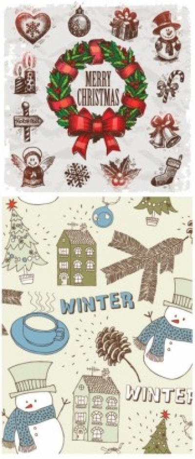 Free vector Vector Christmas  handpainted christmas ornaments vector