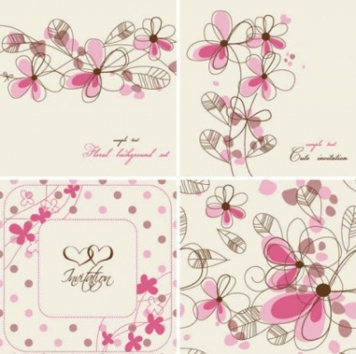 Free vector Vector background  Hand-painted flowers card Background