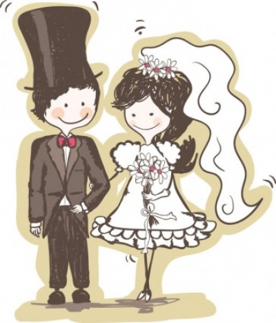 Free vector Vector misc  handpainted version of the bride and groom 04 vector