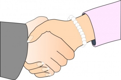 Free vector Vector clip art  Handshake with Black Outline (white man and woman, freshwater pearl bracelet)