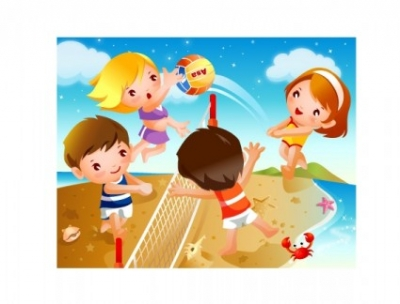 Free vector Vector misc  happy children beach volleyball motion vector