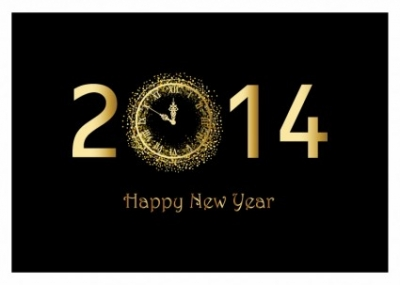 Free vector Vector misc  Happy New Year background with gold clock