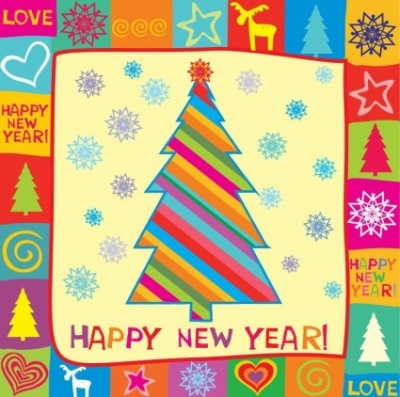 Free vector Vector misc  Happy New Year Greeting Card Vector Illustration