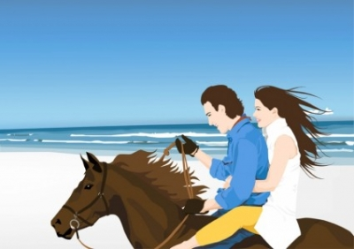 Free vector Vector misc  Horse Riders on Beach