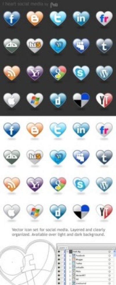 Free vector Vector Heart  I Love Social Media