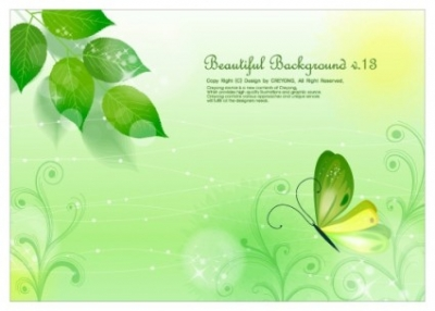 Free vector Vector background  leaves and butterflies vector fantasy background