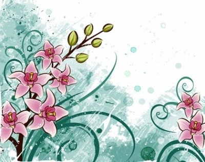 Free vector Vector floral  Lily flowers with Grunge Floral Background