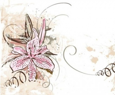 Free vector Vector floral  Lily with Grunge Floral Background Vector Graphic