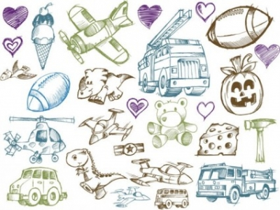 Free vector Vector cartoon  line art cartoon toys vector
