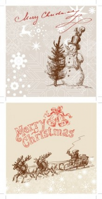 Free vector Vector Christmas  line drawing christmas cards vector